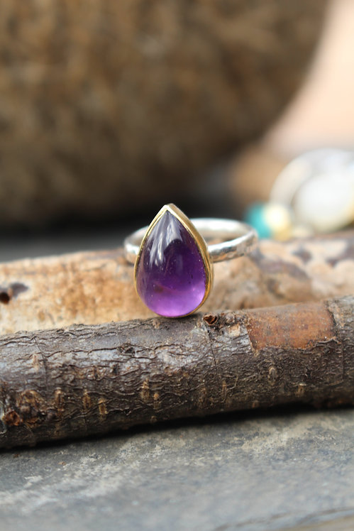 Silver & Gold Pear-shaped Amethyst Endless Summer Ring