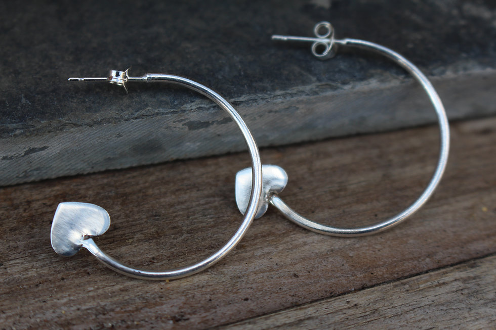 Silver Heart End Hoop Earrings