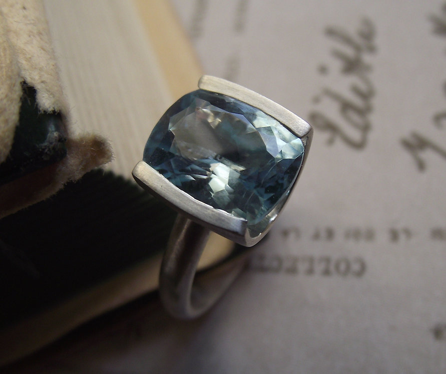 Silver Cushion shaped Blue topaz Tension Set Ring