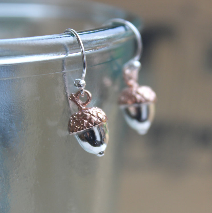 Silver and Rose Gold Vermeil Acorn Drops