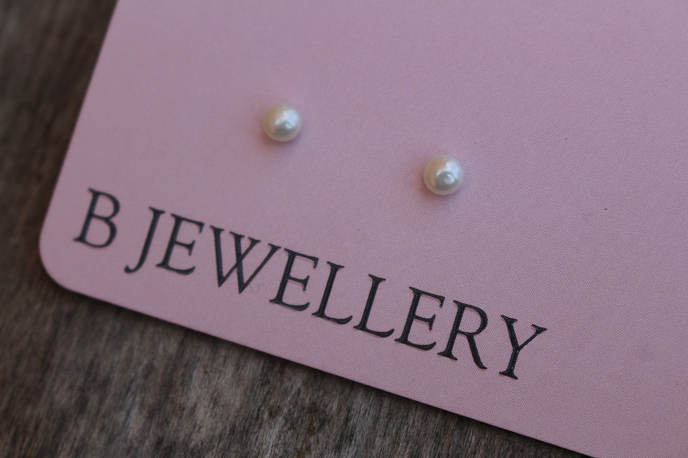 Silver Tiny Pearl Studs