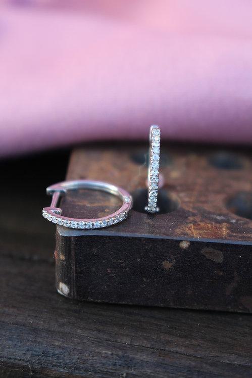 Diamond Set Mini Hoop Earrings