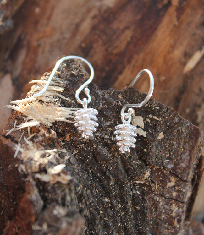 Silver Tiny Pine Cone Earrings