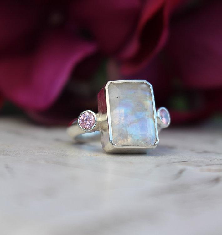 Silver Unicorn Moonstone 3 Stone Ring