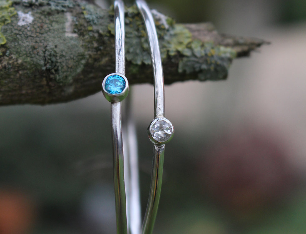 Silver Birthstone Stackable Bangle