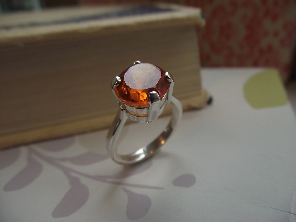 Silver Oval Fire Cz Ring