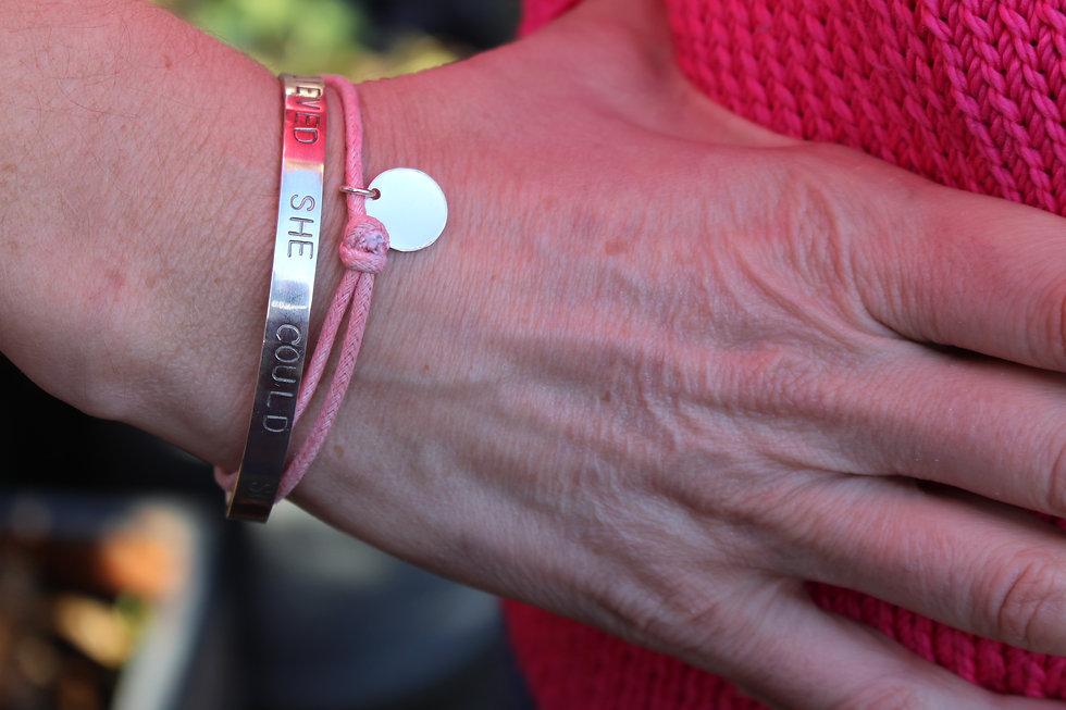Handstamped 1 Disc Charm Bracelet