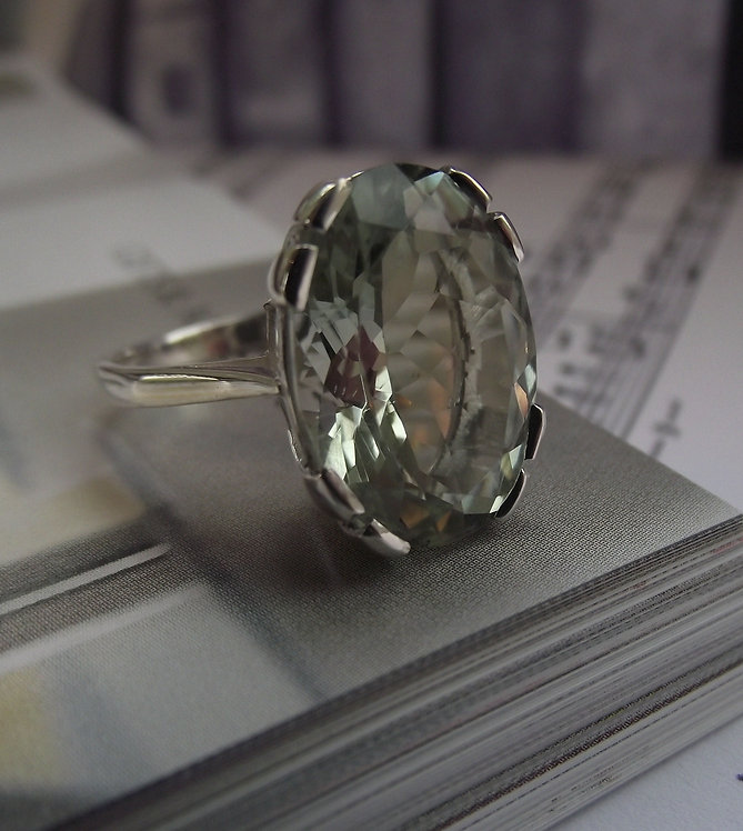 Solid Silver Oval Green Amethyst Ring