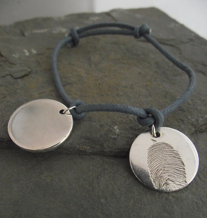 Real Fingerprint 2Disc Charm Bracelet