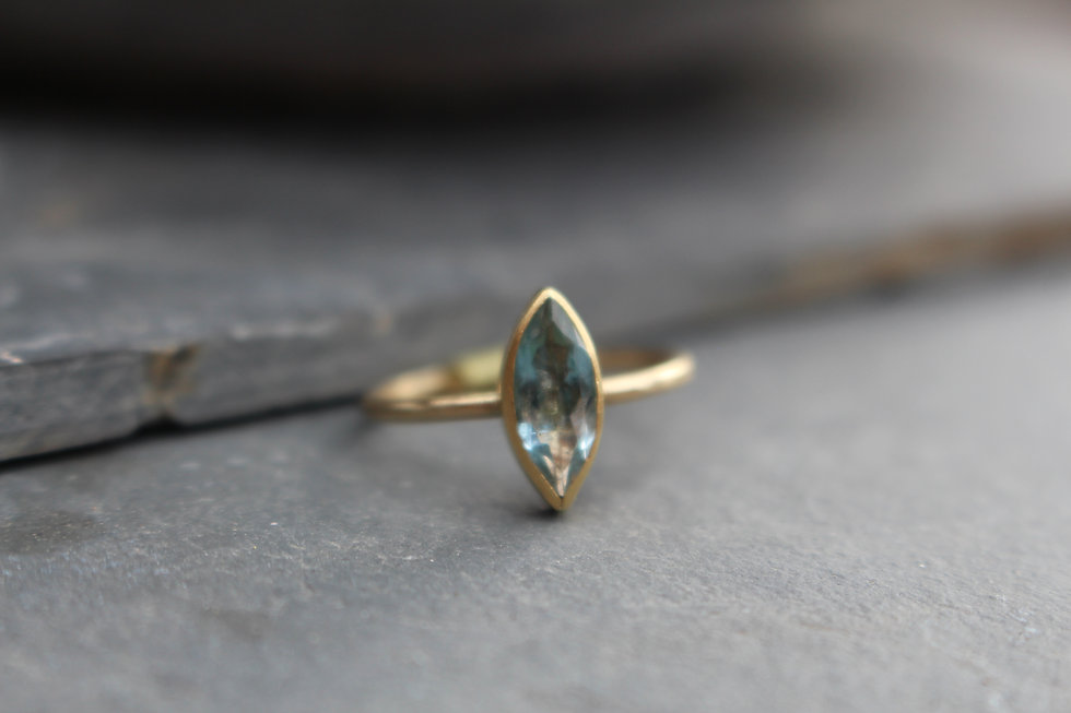 Yellow Gold Marquise Blue Topaz