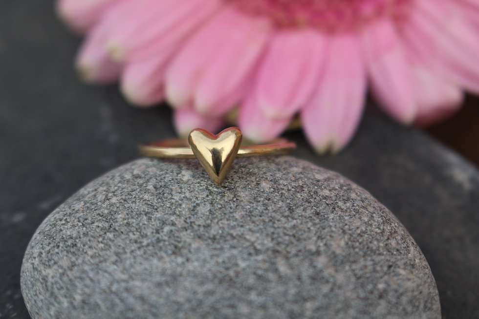 Gold Stackable Fat Heart Ring