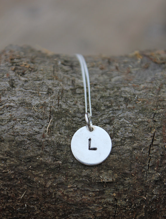 Silver Letter Stamped Pendant
