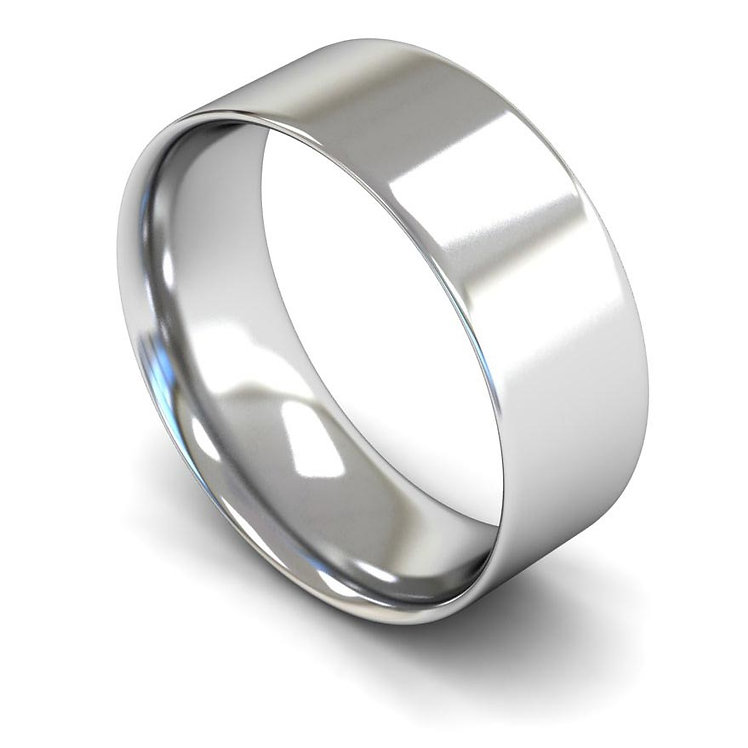 Palladium 8mm Flat Court Wedding Band