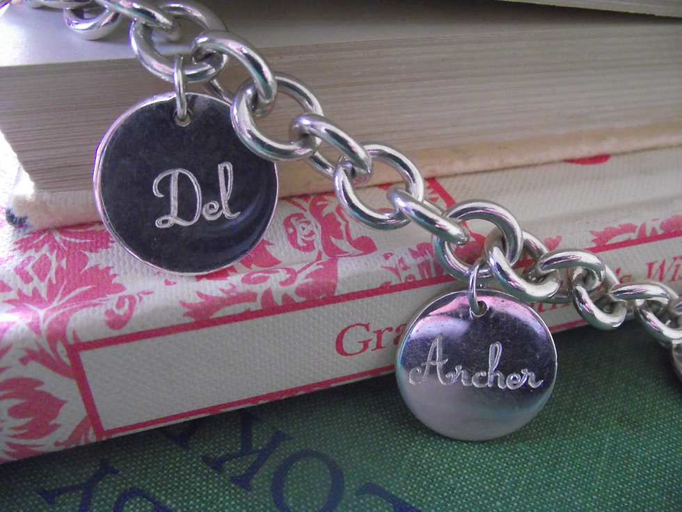 Silver Round Vintage Style Engraved Charms