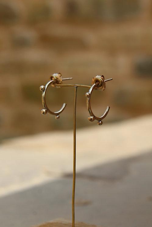 Solid Gold Bobble Hoop Earrings