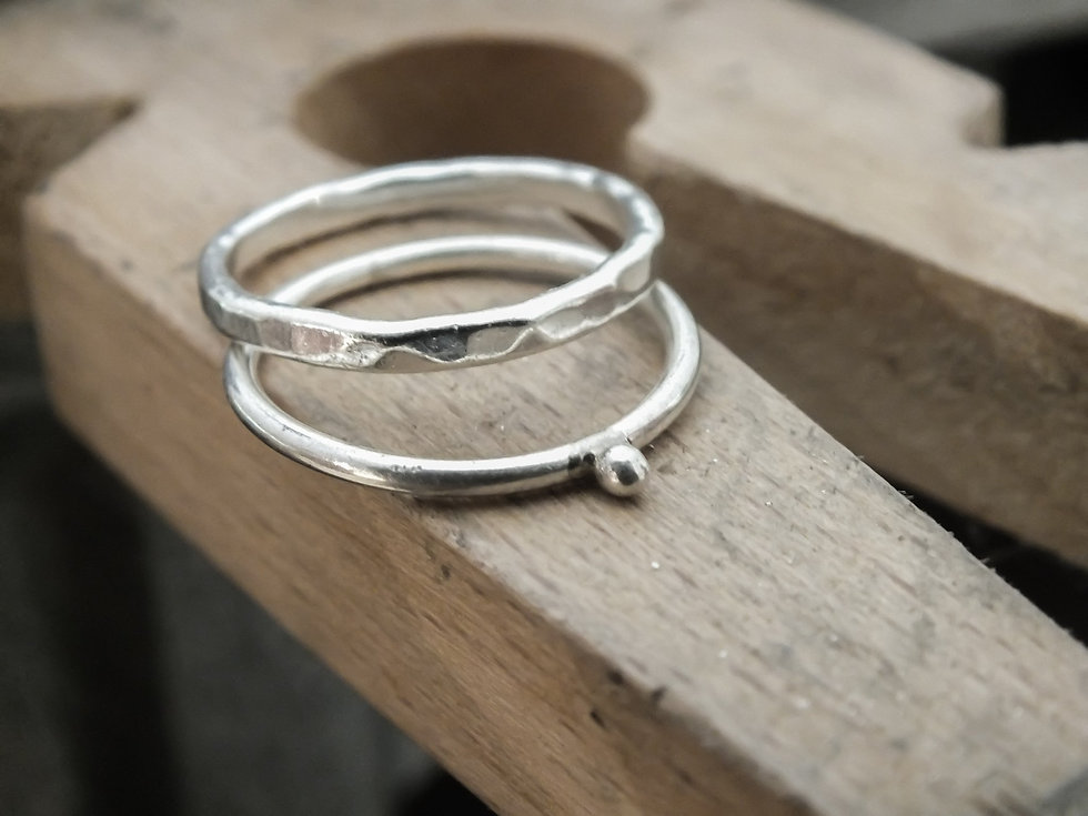 Solid Silver Bobble & Hammered Ring Workshop