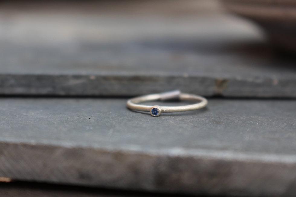 Silver Tiny Blue Stone Ring