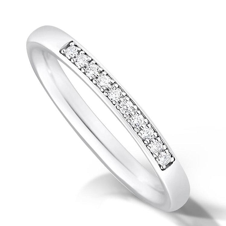 Thin Quater Pave Set Diamond Ring
