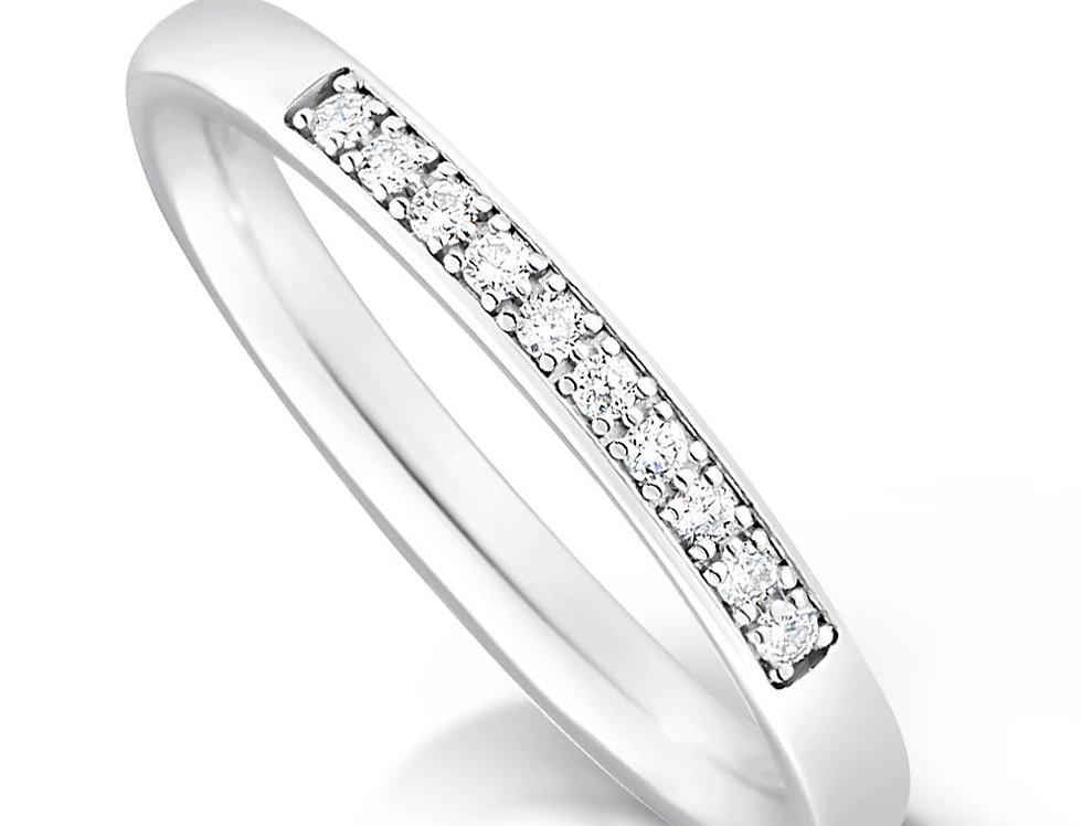 Thin Quater Pave Set Diamond Ring