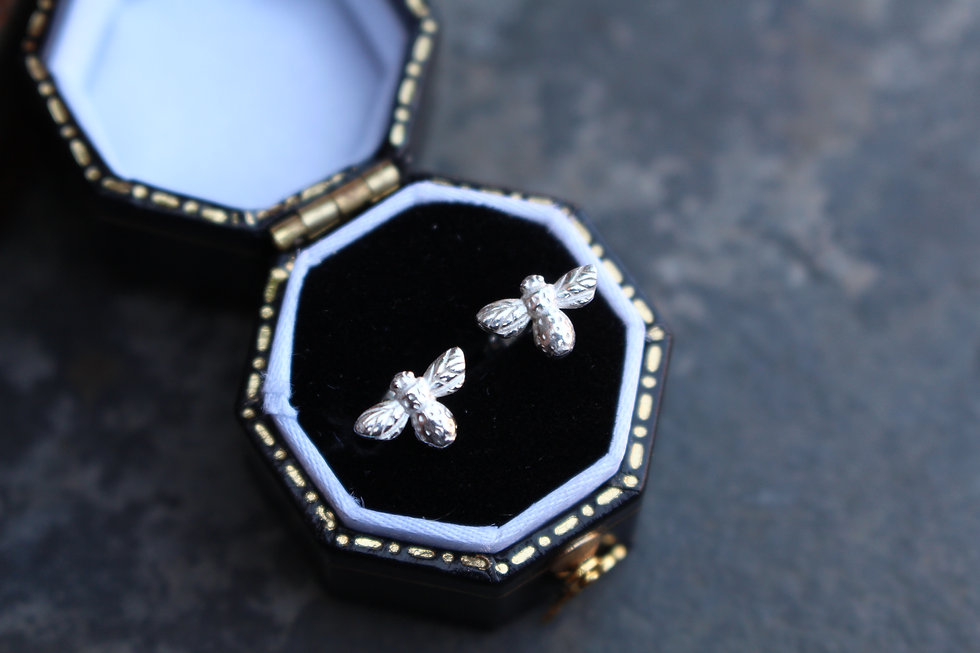 Silver Tiny Bee Studs