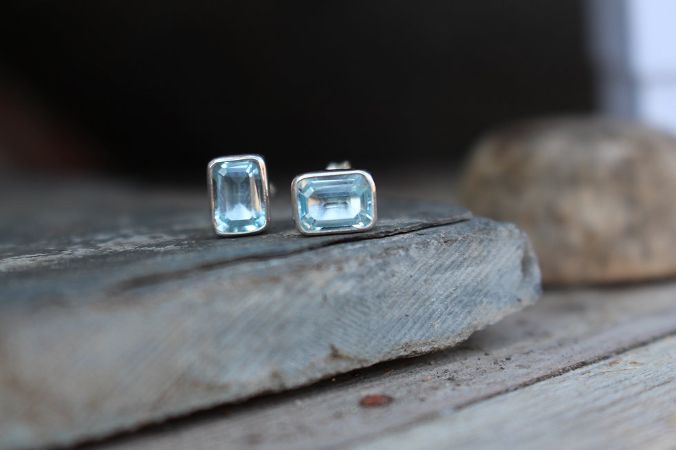 Silver Rectangle Gemset Stud Earrings