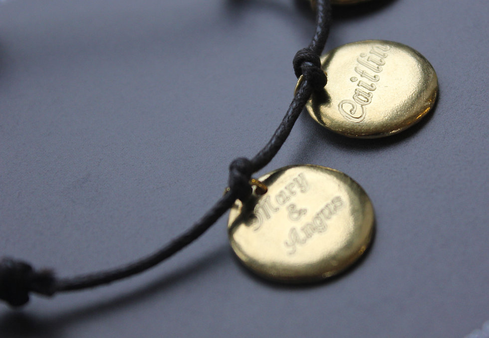Personalised 2 Disc Gold Plated Charm Bracelet