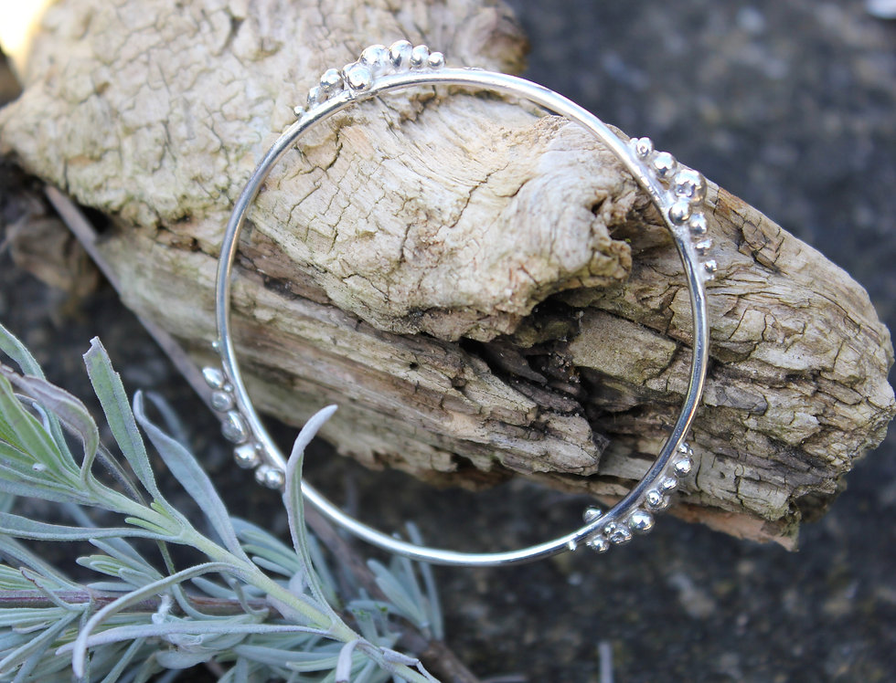 Solid Silver Rocky Road Bangle