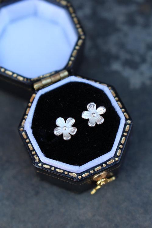 Silver Tiny Flower Studs