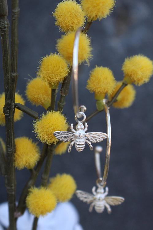 Silver Frosted Bee Hoop Earrings