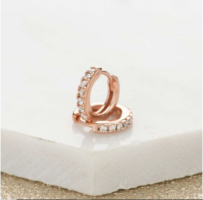 Rose Gold Stone Set Tiny Huggie Hoops