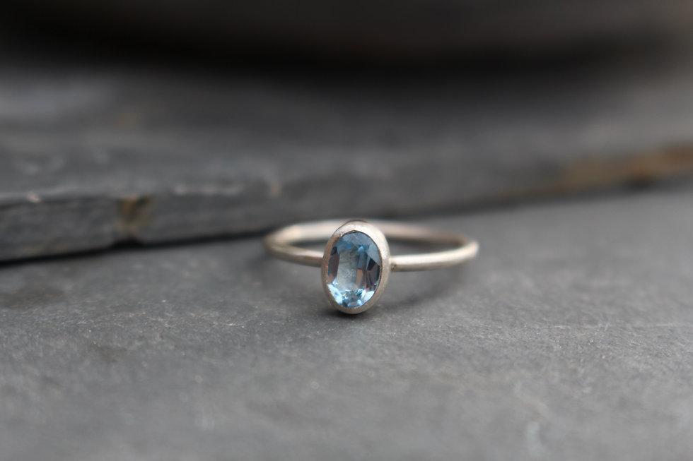 Silver Oval Blue Topaz Ring