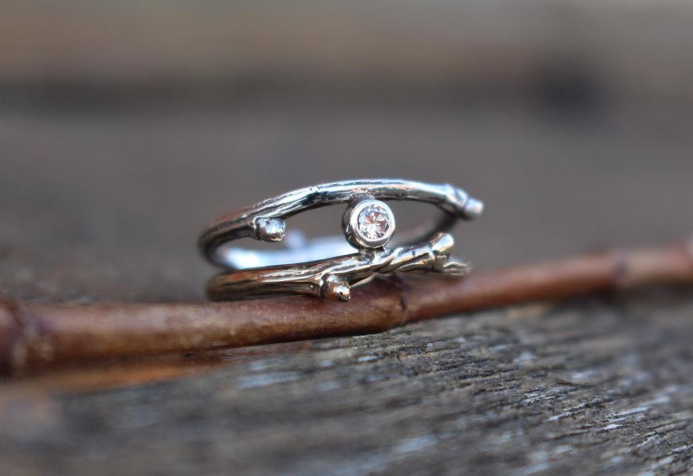 Gold Twig Diamond Ring