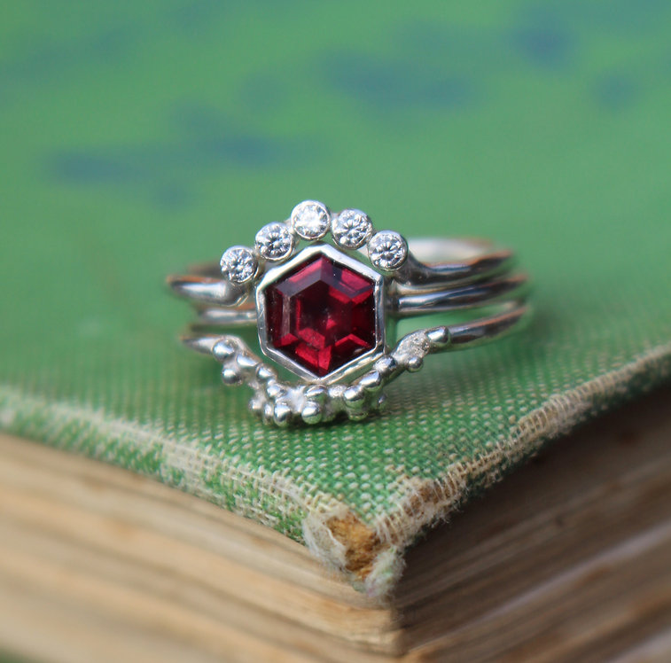Silver Hexagon Garnet Ring Set