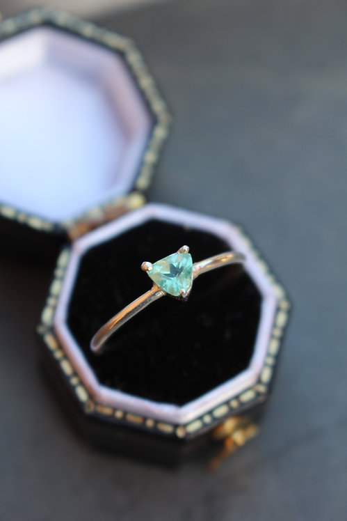 Silver Mint green Tourmaline Ring
