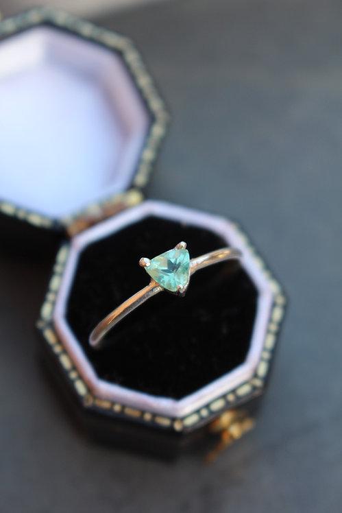 Silver Mint green Tourmaline Ring