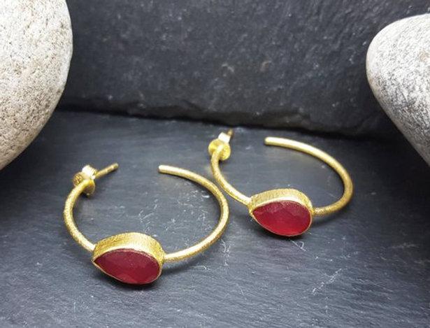 Gold Gemset Hoop Earrings