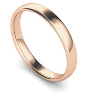 18ct Rose Gold 3mm Traditional Court Wedding Band