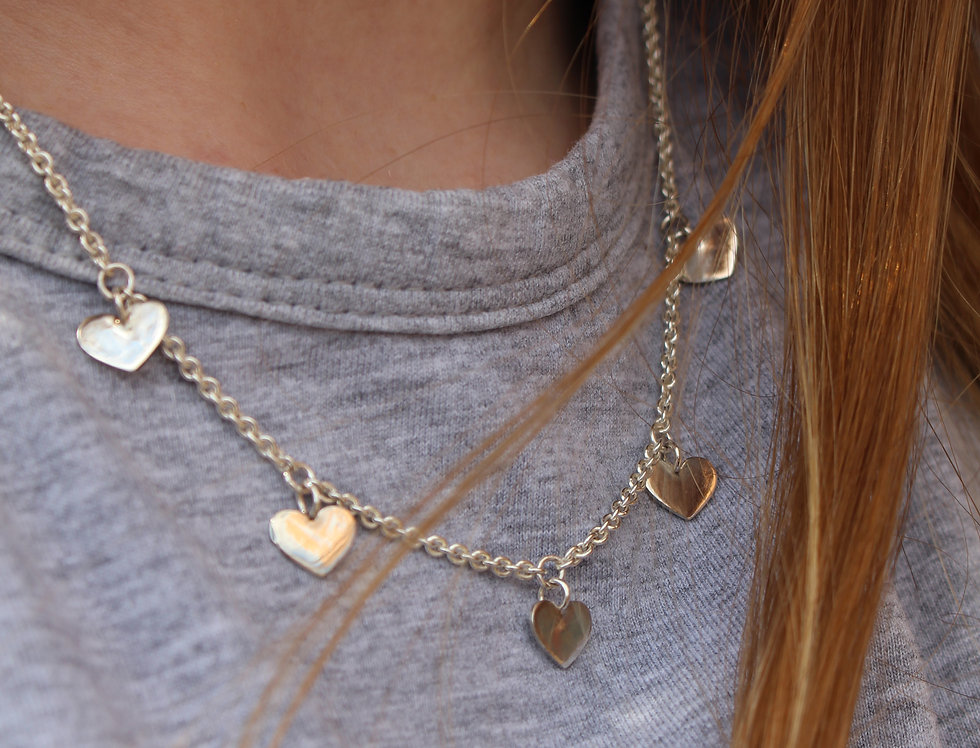Silver 5 Heart Necklace
