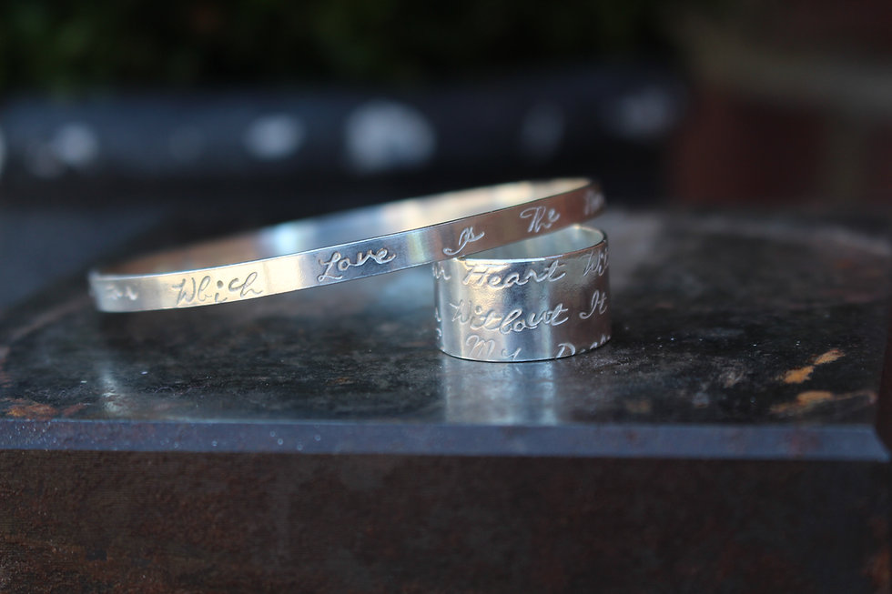 Silver Love Poem Wide Ring