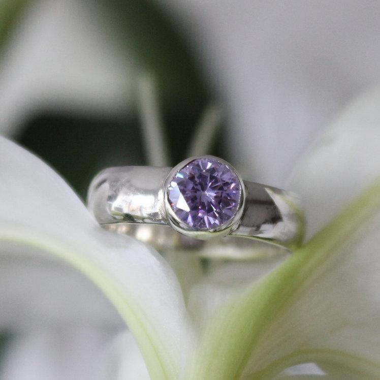 Silver Lilac Zircon Ring