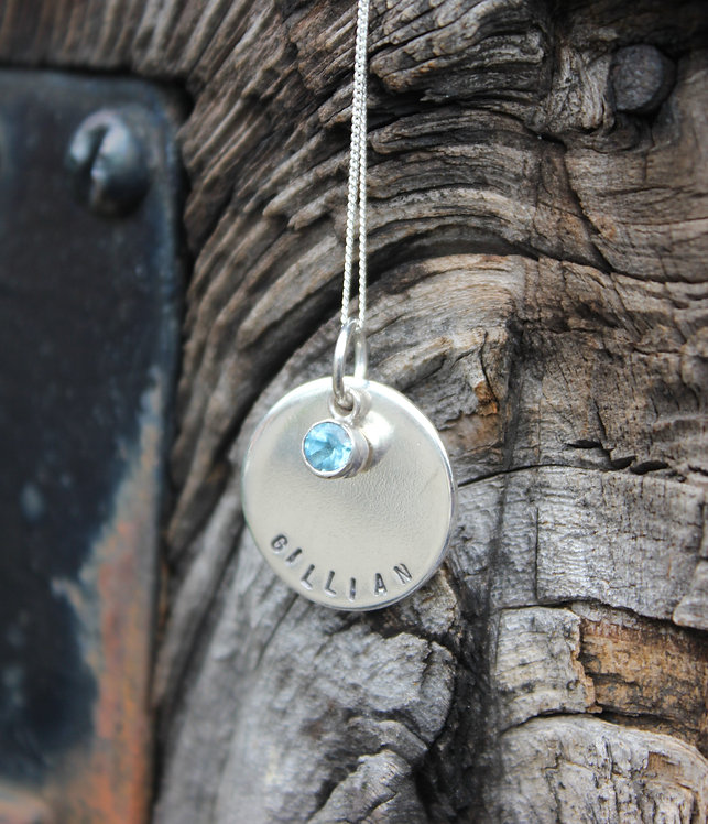 Silver Personalised Birthstone Pendant