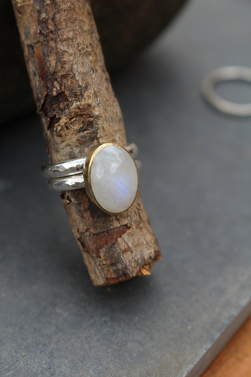 Silver & Gold Oval Moonstone Endless Summer Ring
