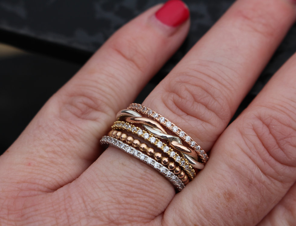 Silver & Rose Gold Twist Stackable Ring