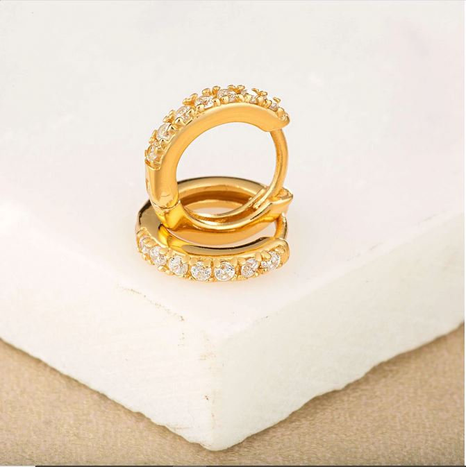 Gold Stone Set Tiny Huggie Hoops