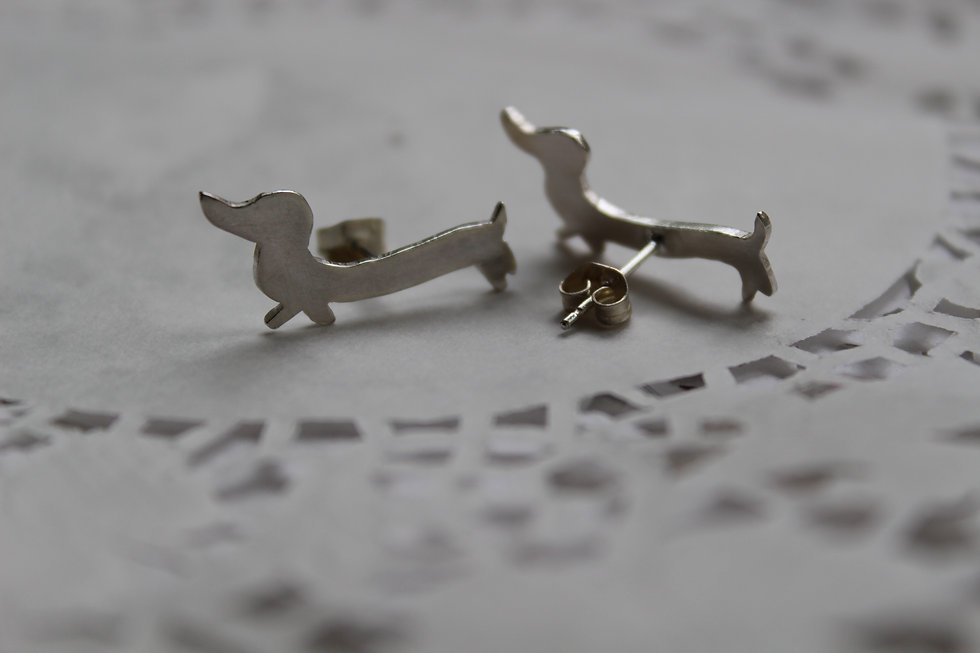Silver Sausage Dog Stud Earrings