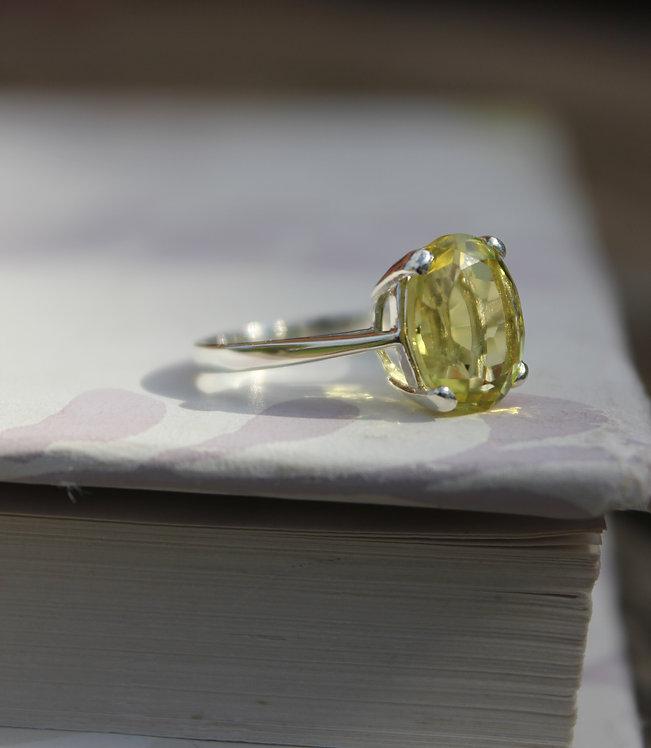 Solid Silver Oval Acid Yellow Lemon Quartz Ring