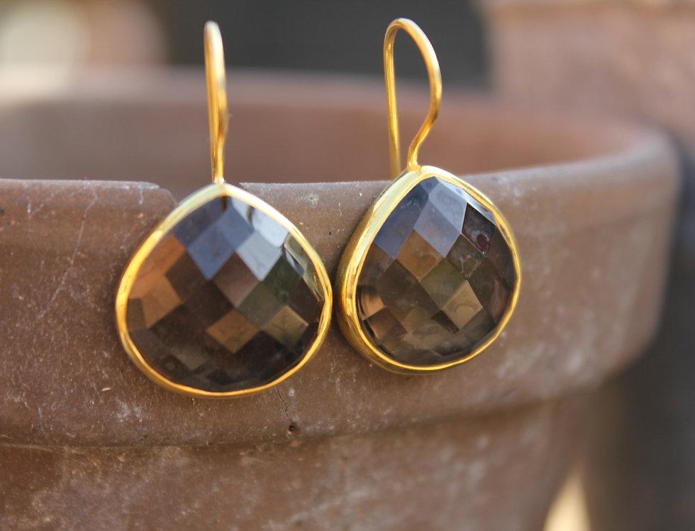 Gold Teardrop Smokey Quartz Earrings