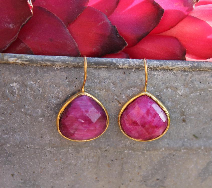 Gold Teardrop Rubelite Earrings