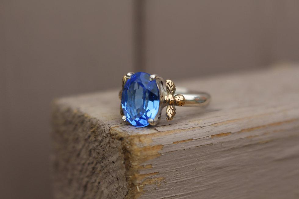 Cornflower Blue Topaz Bee Ring