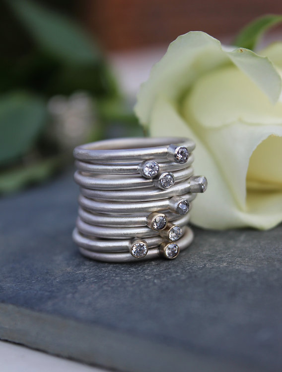 Silver Single Stone Stackable Spacer Ring